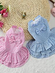 Chat Chien Robe Vêtements pour Chien Mignon Tartan Bleu Rose Costume Pour les animaux domestiques