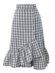 cheap -Women's Daily Midi Skirts, Street chic Trumpet/Mermaid Rayon Plaid All Seasons