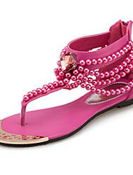cheap -Women's Sandals Spring Summer Fall Comfort Novelty PU Outdoor Office & Career Dress Casual Flat Heel Beading Zipper Walking