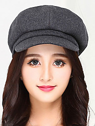 cheap -Women Cotton Lady Leisure Pure Color Wool Woolen Berets Cap England Octagonal Hat