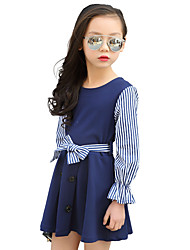 cheap -Girl's Sports Striped Print Dress,Polyester Spring Fall All Seasons Long Sleeve Floral Blue