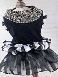 abordables -Chat Chien Robe Vêtements pour Chien Princesse Blanc/Noir Tissu Pelouche Costume Pour les animaux domestiques Femme Mignon