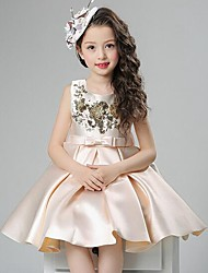 cheap -Girl's Solid Dress,Polyester Summer Sleeveless Bow Lace Red Beige