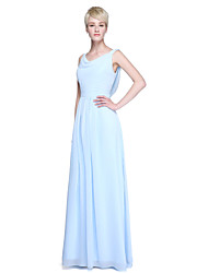 cheap -Sheath / Column Cowl Neck Floor Length Chiffon Bridesmaid Dress with Ruched by LAN TING BRIDE®
