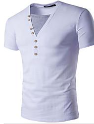 Masculino Camiseta Casual Simples Verão,Sólido Branco Preto Algodão Decote V Manga Curta Opaca Média