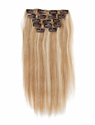 cheap -7pcs set 14inch clip in human hair extensions 85g ombre highlighted straight hair