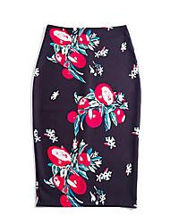 preiswerte -Übergrössen Bodycon Röcke - Blumen, Gespleisst