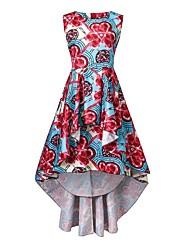 Feminino balanço Vestido,Casual Festa/Coquetel Vintage Boho Floral Decote Redondo Assimétrico Sem Manga Poliéster Primavera VerãoCintura