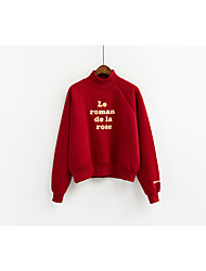 Sign new winter Korean female small letter embroidery hedging plus thick velvet high collar sweater female student influx
