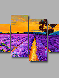 cheap -Stretched Canvas Print Four Panels Canvas Wall Decor Home Decoration Abstract Modern Lavender Purple