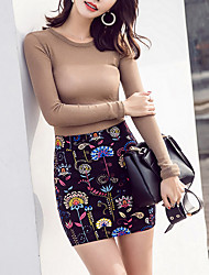 Bodycon Print Knitting Skirts,Casual/Daily Work Simple High Rise Above Knee Zipper Polyester Stretchy Spring Summer
