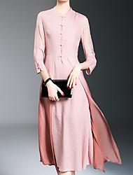 Gaine Robe Femme Sortie Habillées Soirée / Cocktail Sexy Vintage Sophistiqué,Couleur Pleine Col Arrondi Midi Mi-long Manches ¾ Bleu Rose