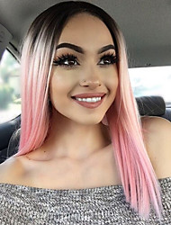 Women Synthetic Lace Front Wigs Fashion Short Black/Pink Ombre Hair Straight Bobo for Black Women African Heat Resistant