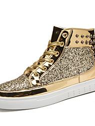 Running Shoes Men's Fashion Casual Shoes EU39-44 Hight-top Microfiber Board Flats Shoes Black/Sliver/Gold
