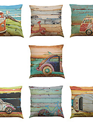cheap -Set of 7 Oil painting car Linen  Cushion Cover Home Office Sofa Square  Pillow Case Decorative Cushion Covers Pillowcases