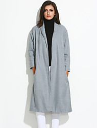 Women's Coat,Solid Shirt Collar Long Sleeve Winter Gray Wool Opaque