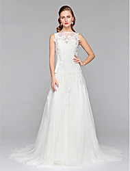 A-Line Illusion Neckline Court Train Tulle Wedding Dress with Appliques by LAN TING BRIDE®