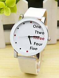 abordables -Mujer Reloj de Moda Piel Banda Encanto / Casual / Reloj con palabras Negro / Blanco