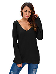 Women's Knitted Long Sleeve Plunge Jumper