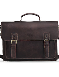 cheap -Men Bags Cowhide Laptop Bag for Casual Office & Career All Seasons Chocolate