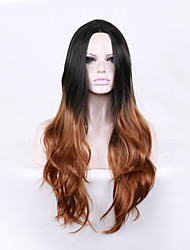 cheap -Women Synthetic Wig Long Deep Wave Black/Medium Browm Ombre Hair Dark Roots Middle Part Natural Wigs Halloween Wig Carnival Wig Costume