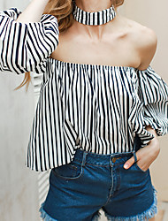 Women's Beach Holiday Vintage Spring Summer Blouse,Striped Boat Neck ½ Length Sleeve Polyester Medium