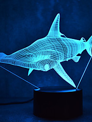 cheap -Shark Touch Dimming 3D LED Night Light 7Colorful Decoration Atmosphere Lamp Novelty Lighting Light