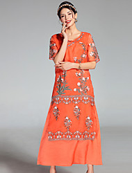 cheap -PROVERB Women's Embroidery Going out Casual Sheath DressFloral Round Neck Maxi Short Sleeve Silk Spring Summer Mid Rise Inelastic Medium