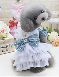 Chien Robe Vêtements pour Chien Mignon Décontracté / Quotidien Princesse Bleu de minuit Vert foncé Costume Pour les animaux domestiques