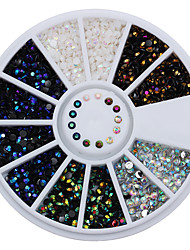 cheap -1 Box 2mm AB Crystal Nail Rhinestones Round Flat Bottom 3D Decoration In Wheel Manicure Nail Art Studs 5 Colors