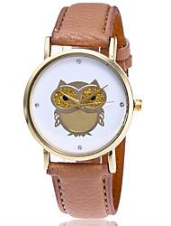 Damen Modeuhr Armbanduhr Quartz Leder Band Bequem Eule Cool Schwarz Weiß Braun Grün Weiß Schwarz Braun Grün