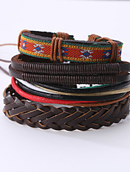 Men's Leather Bracelet Costume Jewelry Vintage Punk Leather Round Jewelry For Anniversary Birthday Gift Sports Valentine Christmas Gifts