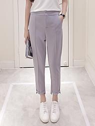 Femme Style de Bureau Taille Normale non élastique Skinny Pantalon,Crochet Couleur unie Couleur unie