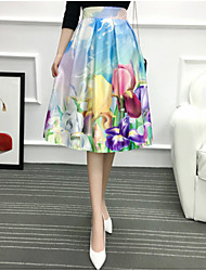 Women's Going out Casual/Daily Knee-length Skirts,Cute A Line Pleated Floral Spring Summer