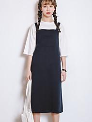 Real shot summer Korean casual loose knit dress strap dress pocket T-shirt Dress Set