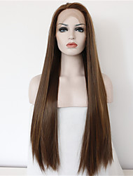cheap -good quality cheap brown wig heat resitant synthetic lace front wigs for women natural long brown lace wigs with highlights free shipping