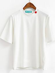 virkelig gør korea afdeling omsorgsfulde små piger høj krave bunden shirt stribet kortærmet t-shirt slank kvinde