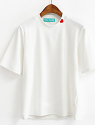 Really making Korea Department of Caring little girls high collar bottoming shirt striped short-sleeved T-shirt Slim female