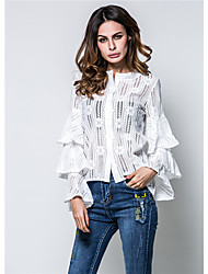 cheap -Women's Daily Wear Classic & Timeless Spring Fall Shirt,Solid Color Round Neck Long Sleeves Lace Medium