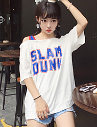Real shot street style Korean letters BF sportswear oblique collision color long section of loose short-sleeved T-shirt