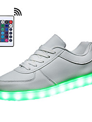 cheap -Women's Shoes Synthetic Spring / Fall Light Up Shoes Sneakers Round Toe Lace-up / LED White / Black
