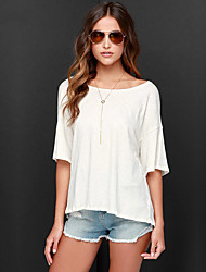 Europe and large size women's round neck short-sleeved T-shirt bamboo cotton halter dovetail T-shirt