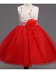 levne -Dívka je Polyester Denní Jednobarevné Léto Šaty, Bez rukávů Květinový Rubínově červená