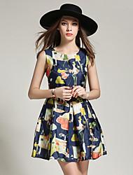знак европа станция лето новая мода 3d цифровой печати тонкий был тонкий платье