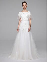 cheap -A-Line Jewel Neck Sweep / Brush Train Lace Wedding Dress with Beading Sash / Ribbon by LAN TING BRIDE®