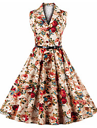 Women's Party Vintage Simple Sheath Dress,Solid Floral V Neck Knee-length Sleeveless Cotton Polyester Summer High Rise Micro-elastic