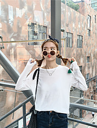 Sign spring new Korean version of the candy-colored thin models wild loose solid color round neck long-sleeved TEE