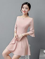 firmare 2017 nuovo Slim collare abito spalla senza bretelle di modo coreano nudo colore rosa del manicotto del loto