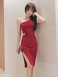 2017 summer new Korean series hollow sleeveless dress package hip skirt dress sexy slit dress