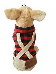 preiswerte -Hund T-shirt Hundekleidung Niedlich Lässig/Alltäglich Modisch Plaid/Karomuster Rot Kostüm Für Haustiere